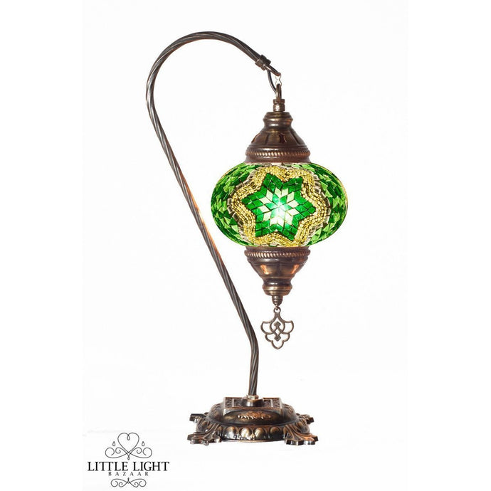 Moroccan Gardens (Medium Globe)-Table Lamps-Little Light Bazaar-Green mosaic with green mosaic and mirror star-Little Light Bazaar