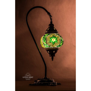 Moroccan Gardens-Table Lamps-Little Light Bazaar-Green mosaic with green mosaic and mirror star-Little Light Bazaar