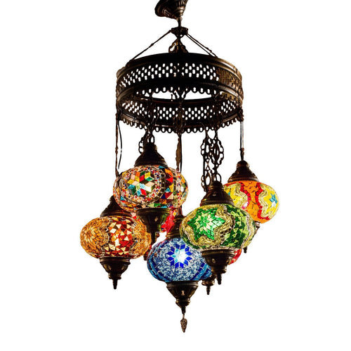 Over the Rainbow-Chandeliers-Little Light Bazaar-Mosaic chandelier - 7 globes - 6 inch globes-Little Light Bazaar