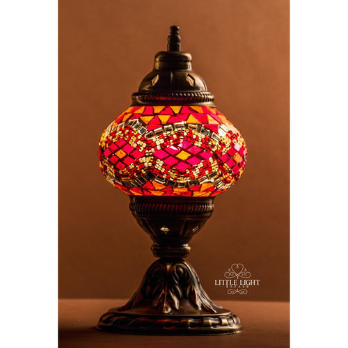 Paprika and Saffron (Small Globe)-Table Lamps-Little Light Bazaar-Orange and red mosaic with mirror band-Little Light Bazaar