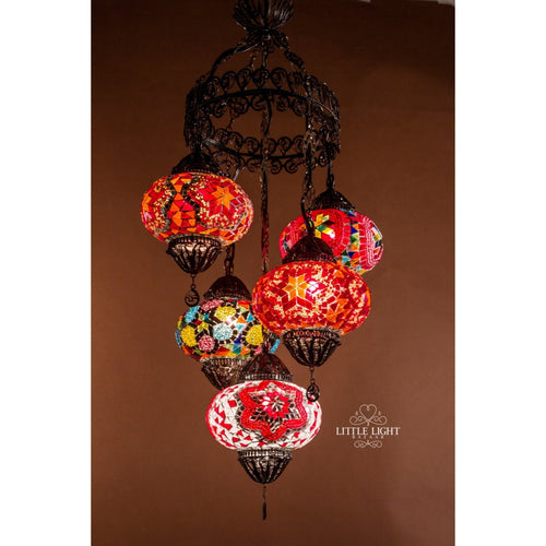 Paradise City-Chandeliers-Little Light Bazaar-Mosaic chandelier - 5 globes - 6 inch globes; filigree frame-Little Light Bazaar
