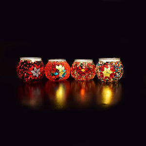 Set of 4 Mosaic Votive Candle Holders - Festive Red Collection