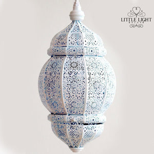 Sana Moroccan Lantern - White with Colors Inside (Plug In), Moroccan lighting, Little Light Bazaar