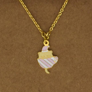 Tea Cup Kitten Necklace - Pink, Moroccan lighting, Little Light Bazaar