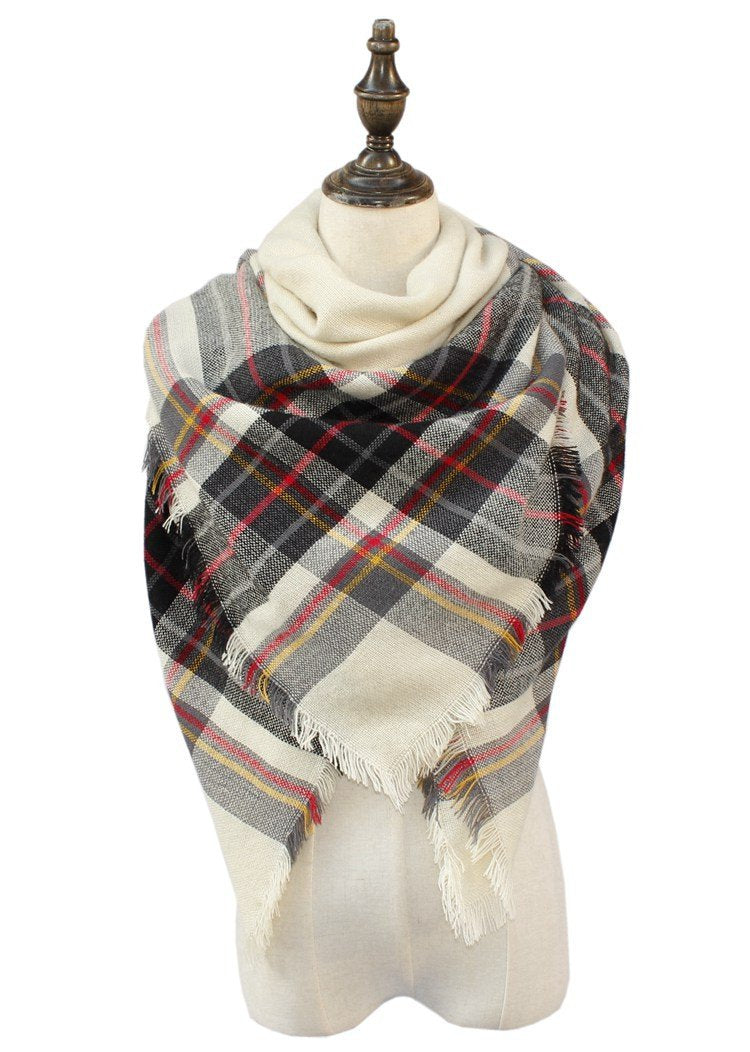 Plaid Blanket Scarf Scarves (Cream/Black/Red)