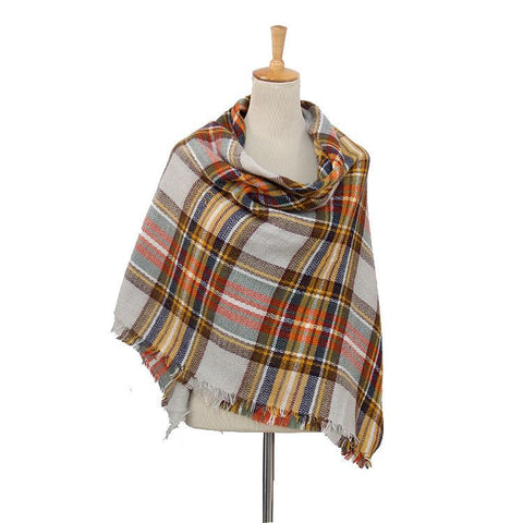 Women's Plaid Blanket Scarf (Brown, Cream, Navy)