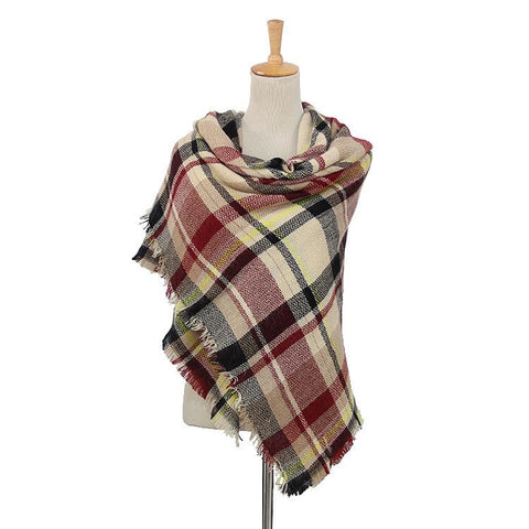 Plaid Women's Blanket Scarf (Cream, Red, Black)