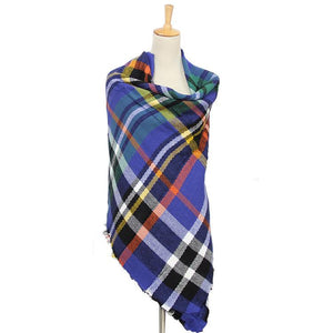 Plaid Multi-Color Blanket Scarf (Royal, White & Yellow)