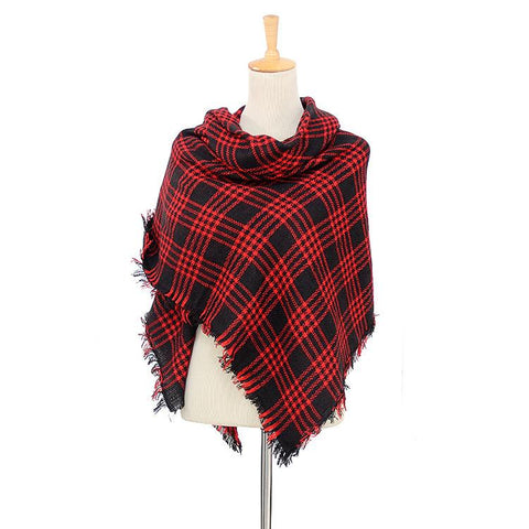 Red & Black Plaid Women's Blanket Scarf