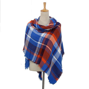 Plaid Women Blanket Scarves (Red, Orange, White & Navy)