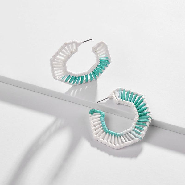 Hoop Earrings with Raffia