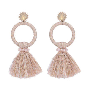 Beige Tassel Circle Earrings