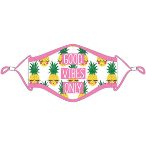 Good Vibes Only Pineapple Face Masks w/ Lanyard