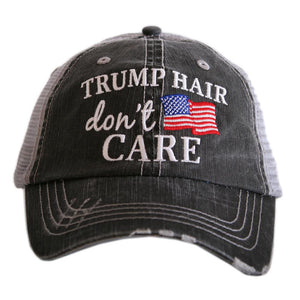 """Trump Hair Don't Care"" American Flag Women's Trucker Hat"