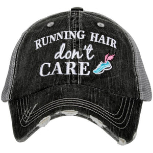 Running Hair Don't Care Trucker Hats