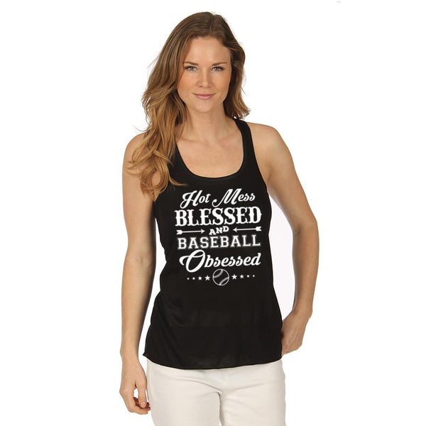 """Hot Mess Blessed and Baseball Obsessed"" Baseball Tank Tops"