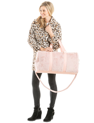 Light Pink Faux Fur Weekender Bags