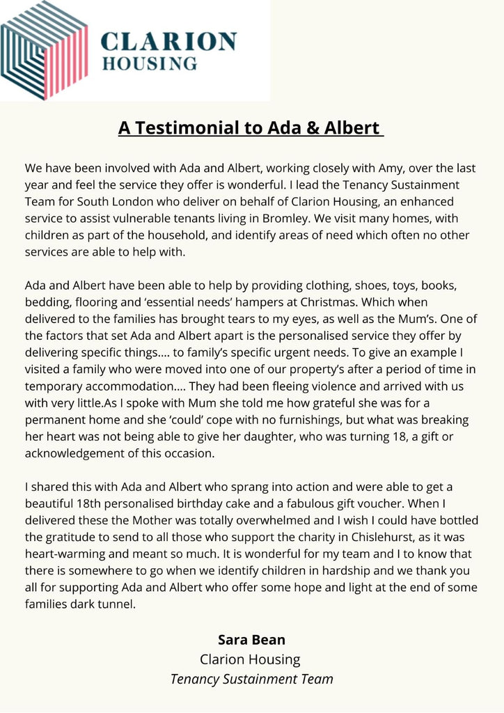 A letter to Ada & Albert from Clarion Housing.