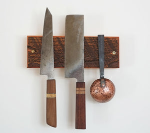 reclaimed wood knife and utensil rack