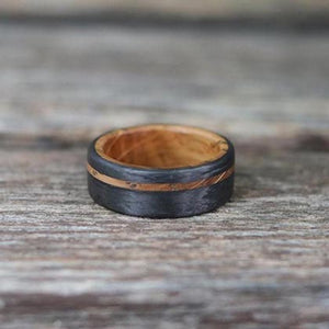 handcrafted wood and carbon fiber ring