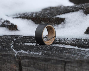 spalted maple and carbon fiber handmade ring