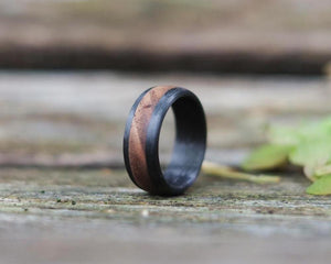beautiful Walnut & Carbon Ring