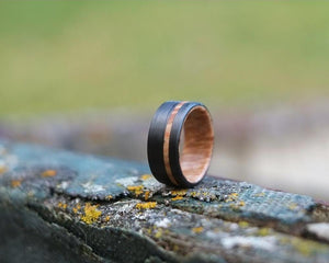 Bound Maple Burl Offset Handmade Ring