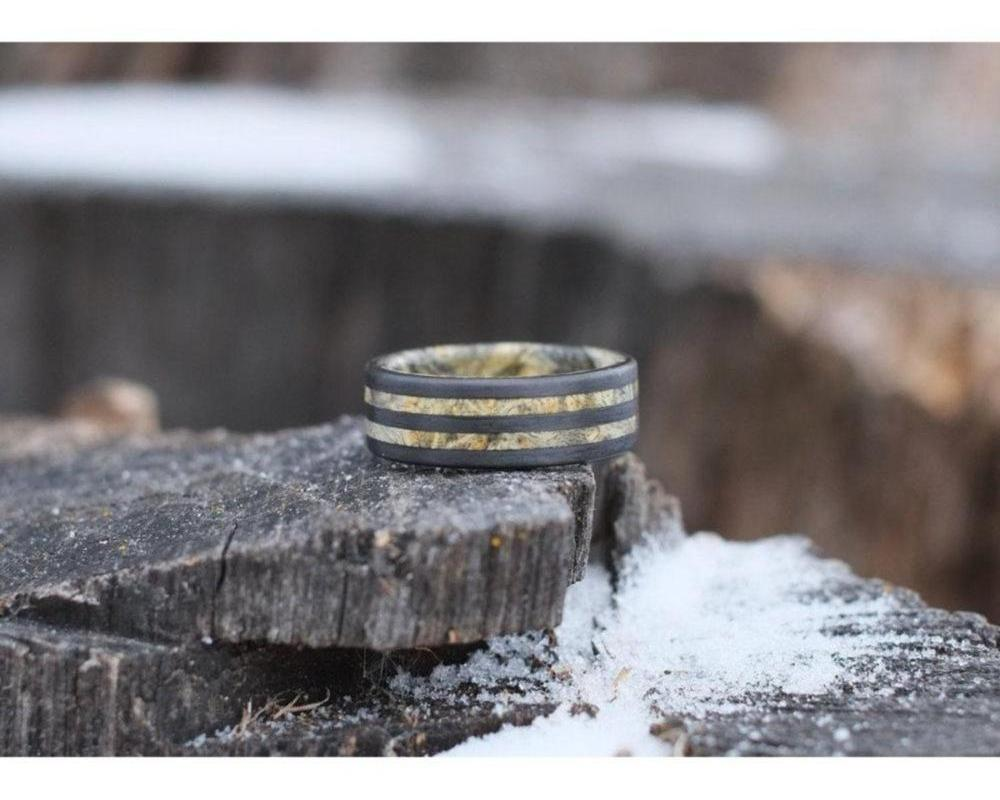 your tells pin simply engagement and set wood are each handcrafted story wedding rings ring maple made salvaged a wooden beautiful from walnut