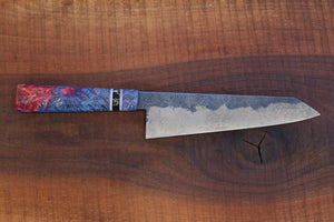 Gyuto - Blue and Red Burl with Sawmill Steel