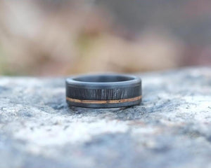 Bison Antler and Whiskey Barrel Handmade Ring