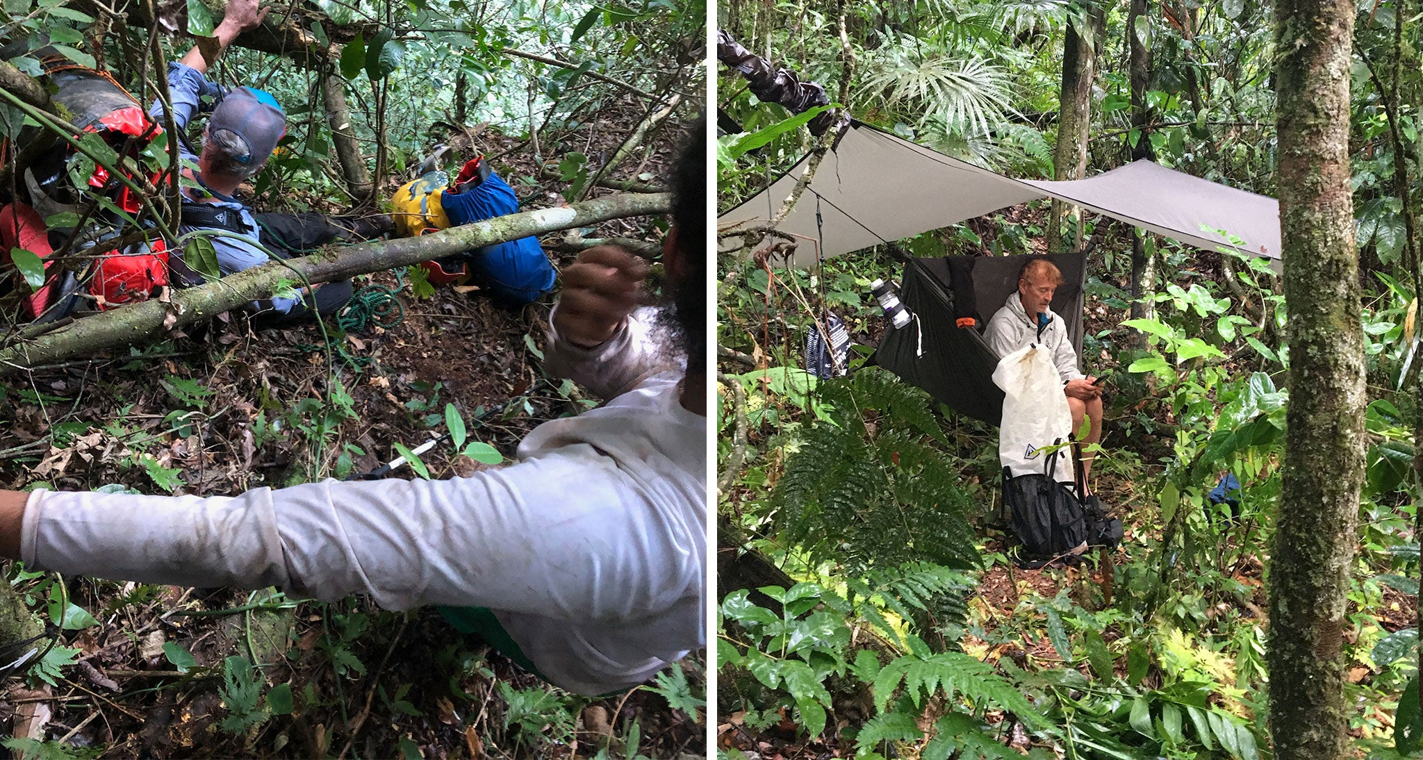Left:Long, steep and slippery descent to the river. // Right:Jungle camp on the Sibun River