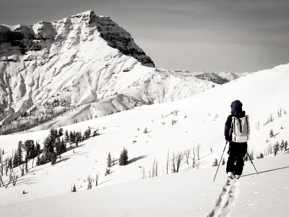 Kt Miller in the Montana backcountry. Photo by Beau Fredlund.
