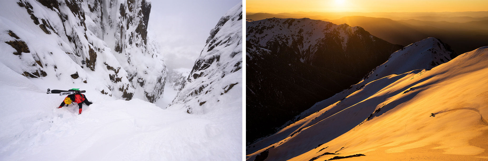 (L) Ben Armstrong down climbs into a Cradle Mountain couloir, Tasmania. (R): Drew Jolowicz and the Sentinel Face at sunset. NSW Main Range