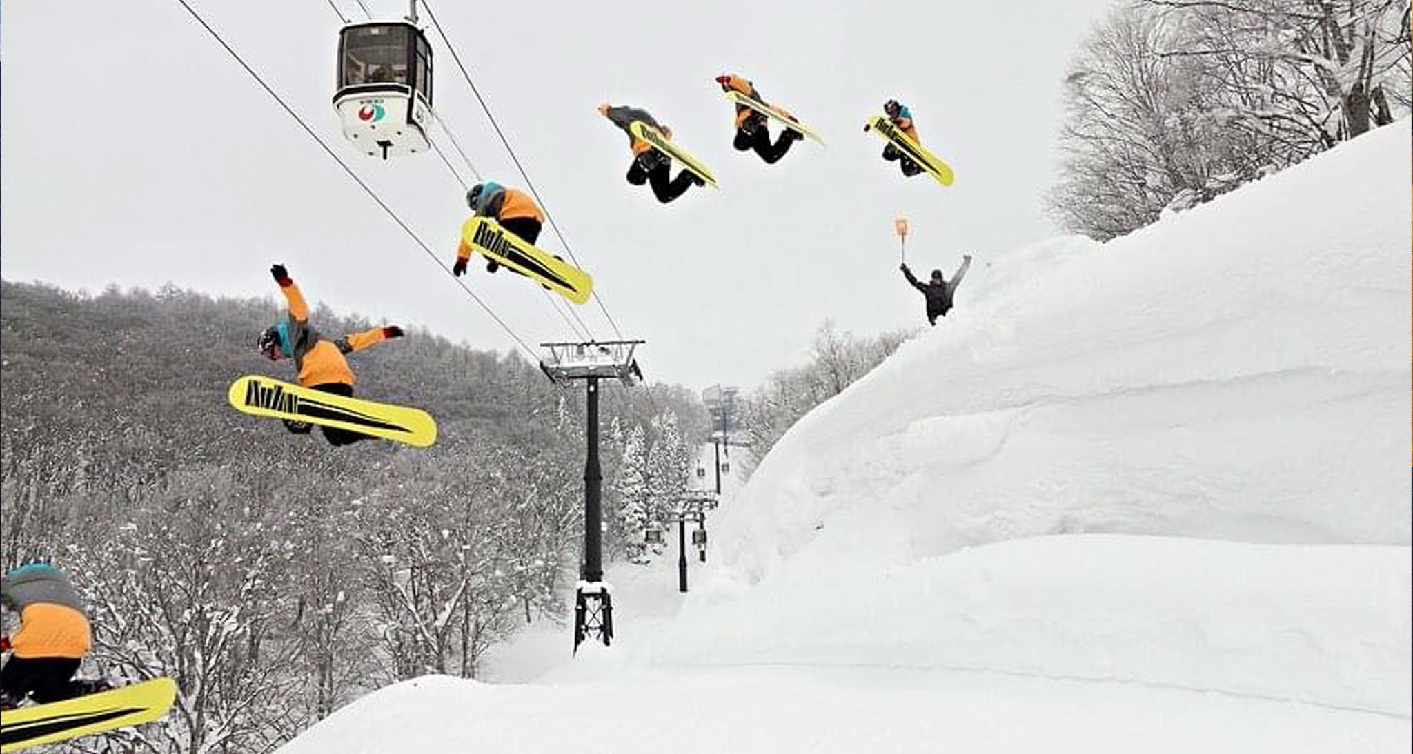Paddy King gaps the Nozawa gondola in 2011. Since the gondola was rerouted in 2019 the shot no longer exists.