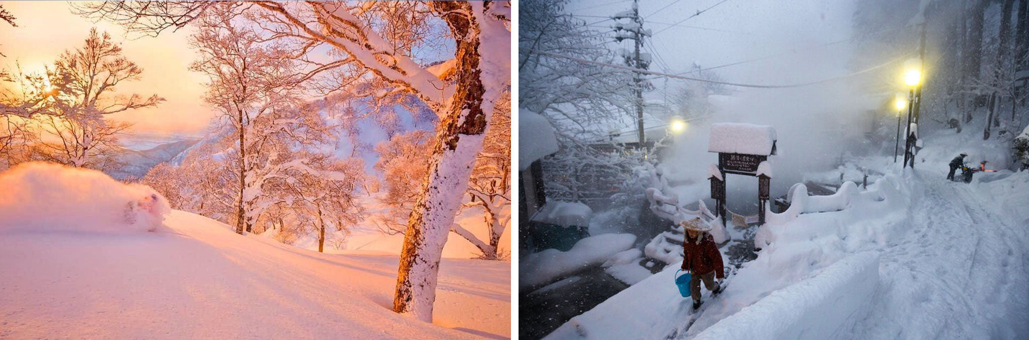 (L) Drew Jolowicz and pure magic near Nozawa Onsen. It took us over two years to get this shot in cold, pristine sunset light. (R) Quintessential Nozawa Onsen.