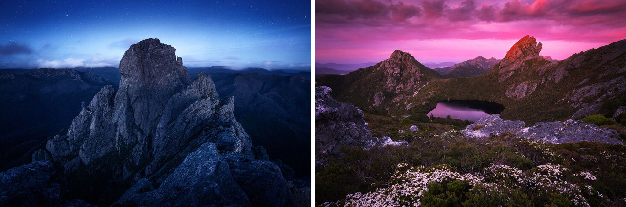 (L) Dusk from the Southern Traverse, Federation Peak. (R) Haven Lake truly is a Haven on a hot summer's day, SW Tasmania.