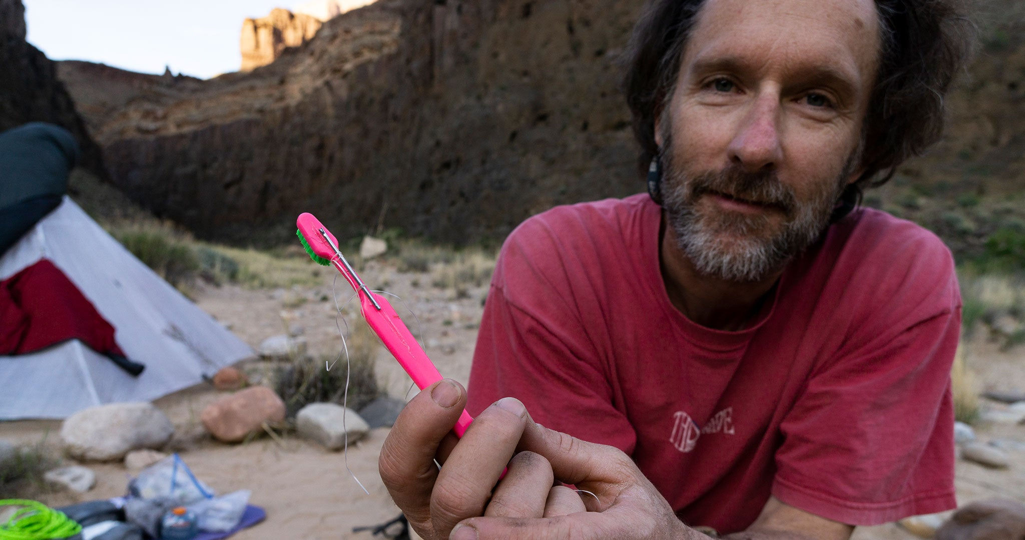 Mike St. Pierre's partner on the Grand Canyon thru hike, Clay Wadman had an unfortunate incident with a rock falling on his gear and smashing his toothbrush, among other things.