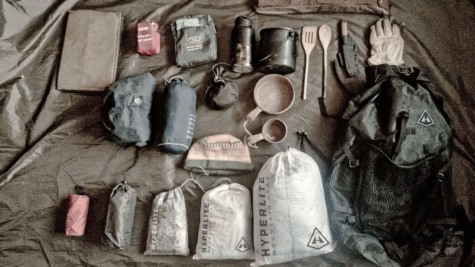 Brian Trubshaw's gear layout before he heads into the woods.