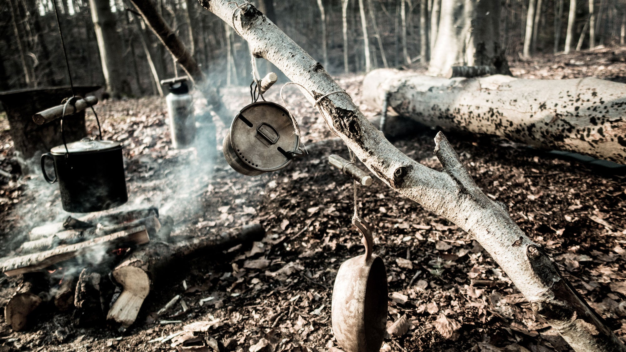 A bushcrafting campsite differs greatly from the site of a typical ultralight hiker.