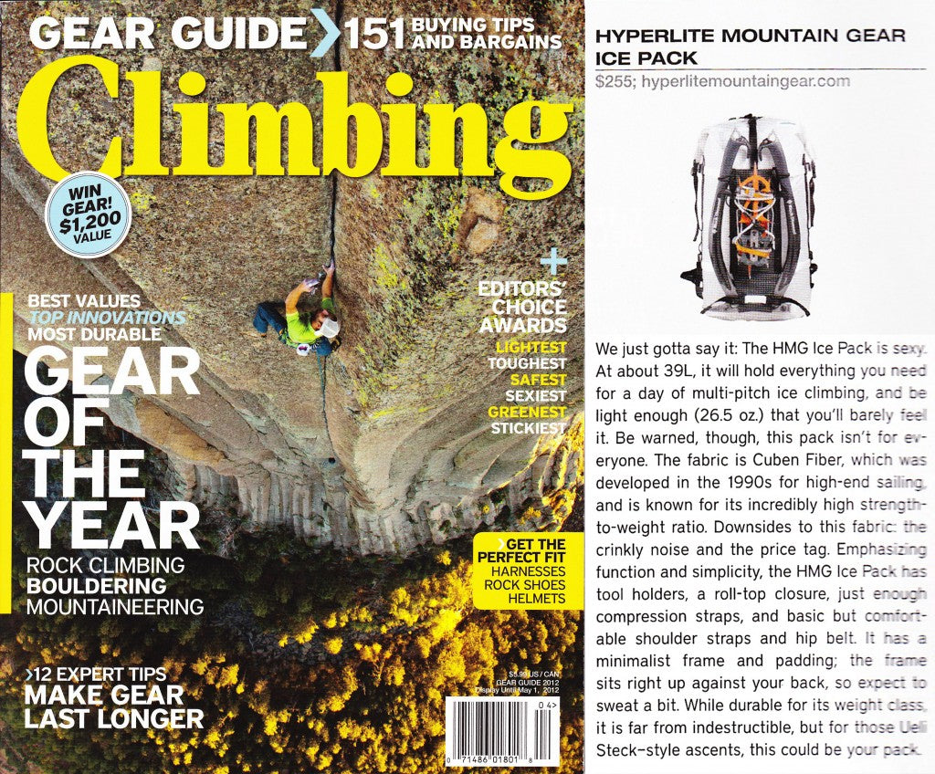 Ice Pack Makes Climbing Magazine's 2012 Gear Guide