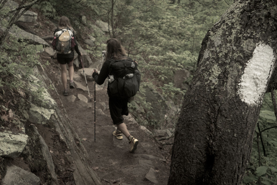 """Kendra """"Lays"""" Jackson and Tyson """"Tenderfoot"""" Perkins hiking back down south into Appalachian Trail Days."""