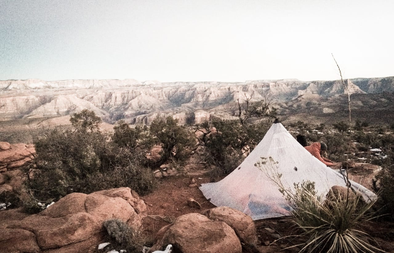 Spectacular ledge camp across from Granite Park, Grand Canyon, Ariz.