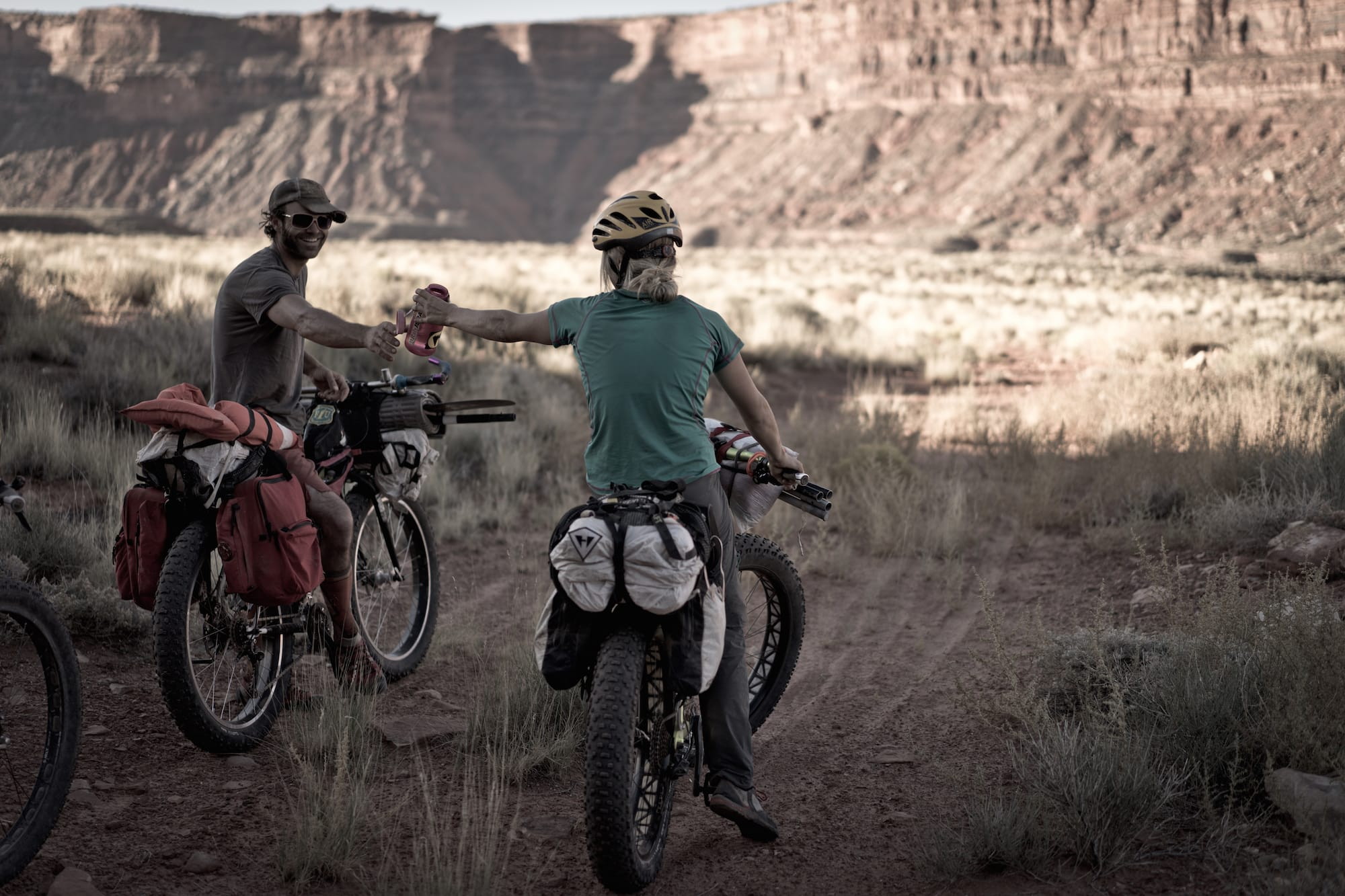 With a first ascent under their belts and a nice clean line left behind, the group returned to their bikes via a grueling 10-hour overland slog seeking shelter from the sun at every opportunity provided.