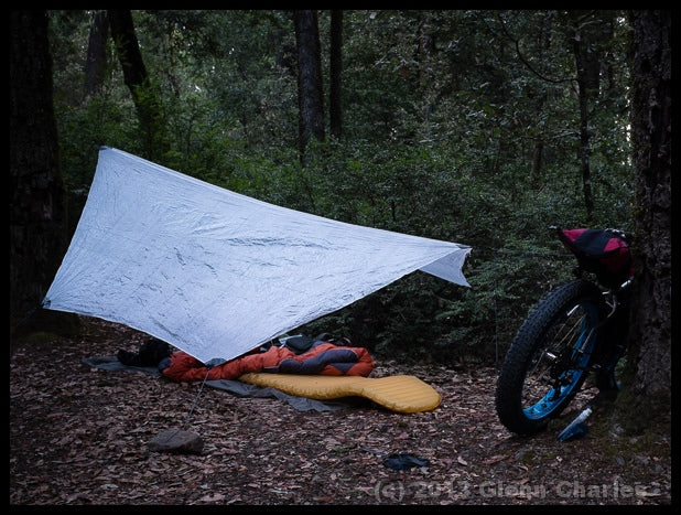 A bikepacking tarp pitched between two trees.