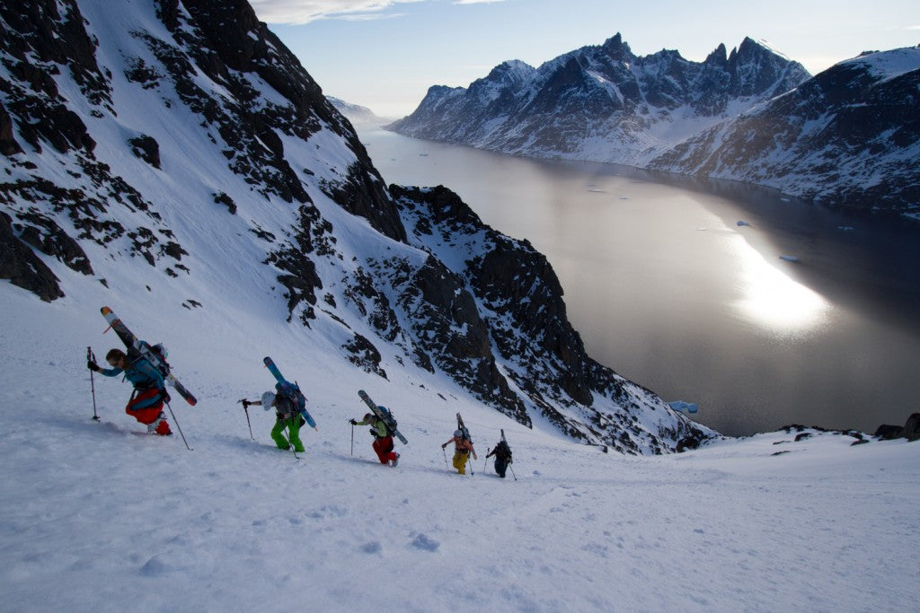 The Shifting Ice team, Pip Hunt, Meghan Kelly, Martha Hunt, McKenna Peterson, & Nat Segal climbing up the first ski line in South Greenland.