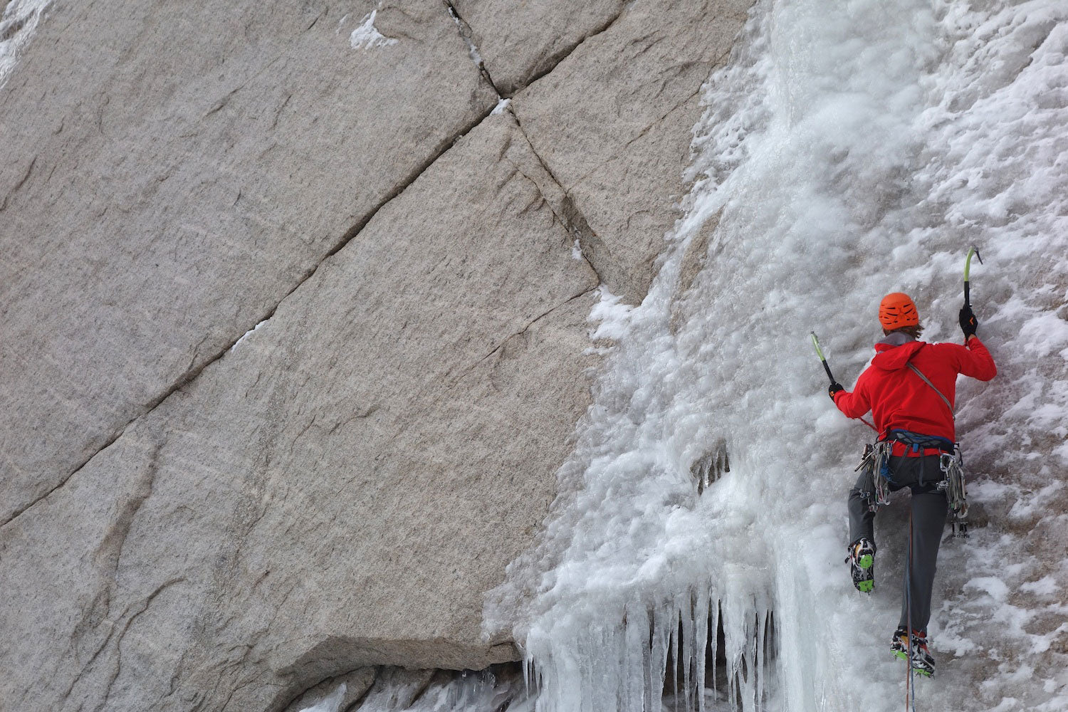 """Kurt Ross on """"Crazy Train,"""" on the Lower East Face of Longs Peak. Photo by Ryan Vachon."""