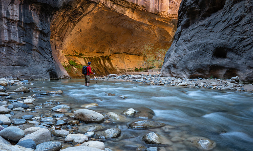 Zion National Park, hiking the Narrows. I love the sunlight bouncing off the canyon wall. This picture was one of my first real experiments with long exposure photography.