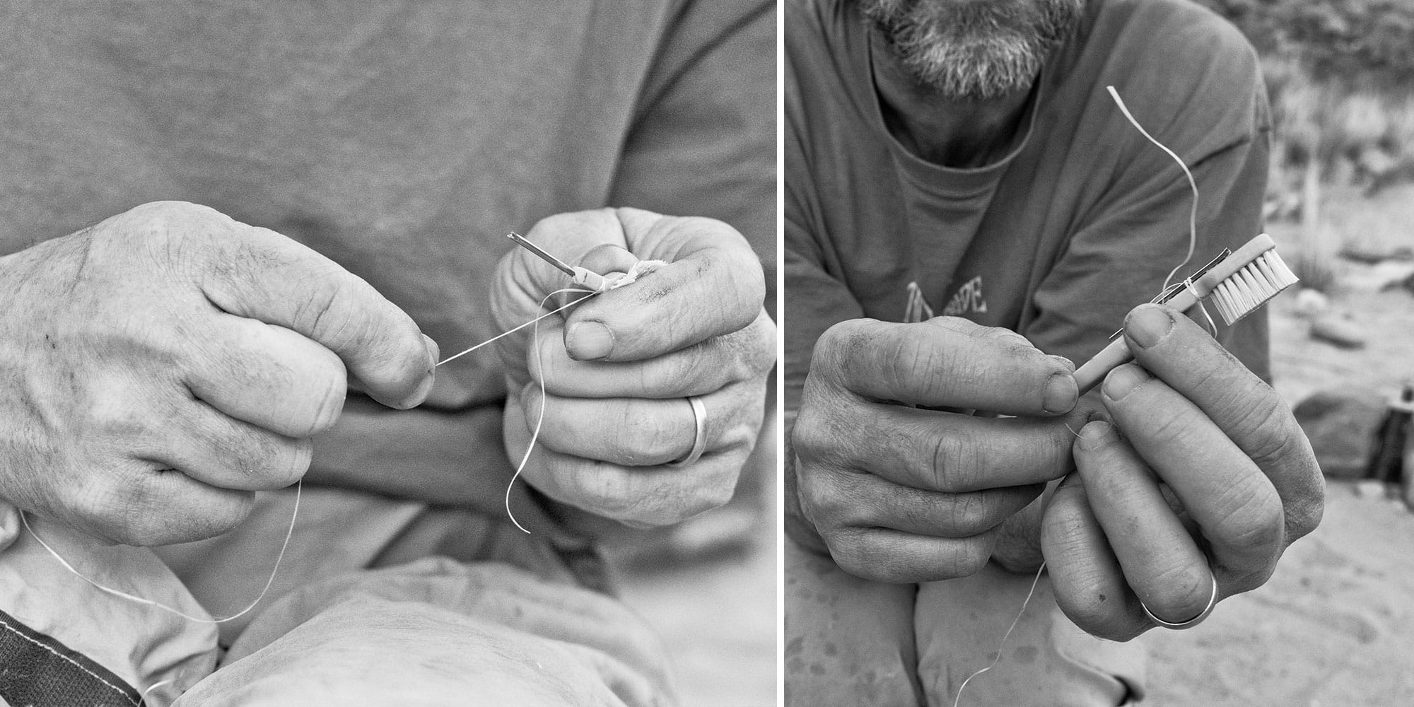 Fixing a toothbrush with dental floss and a sewing needle. | Photo: Mike St. PIerre, Grand Canyon 2016