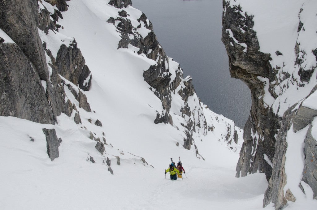 Nat Segal & McKenna Peterson booting up a beautiful couloir in West Greenland.
