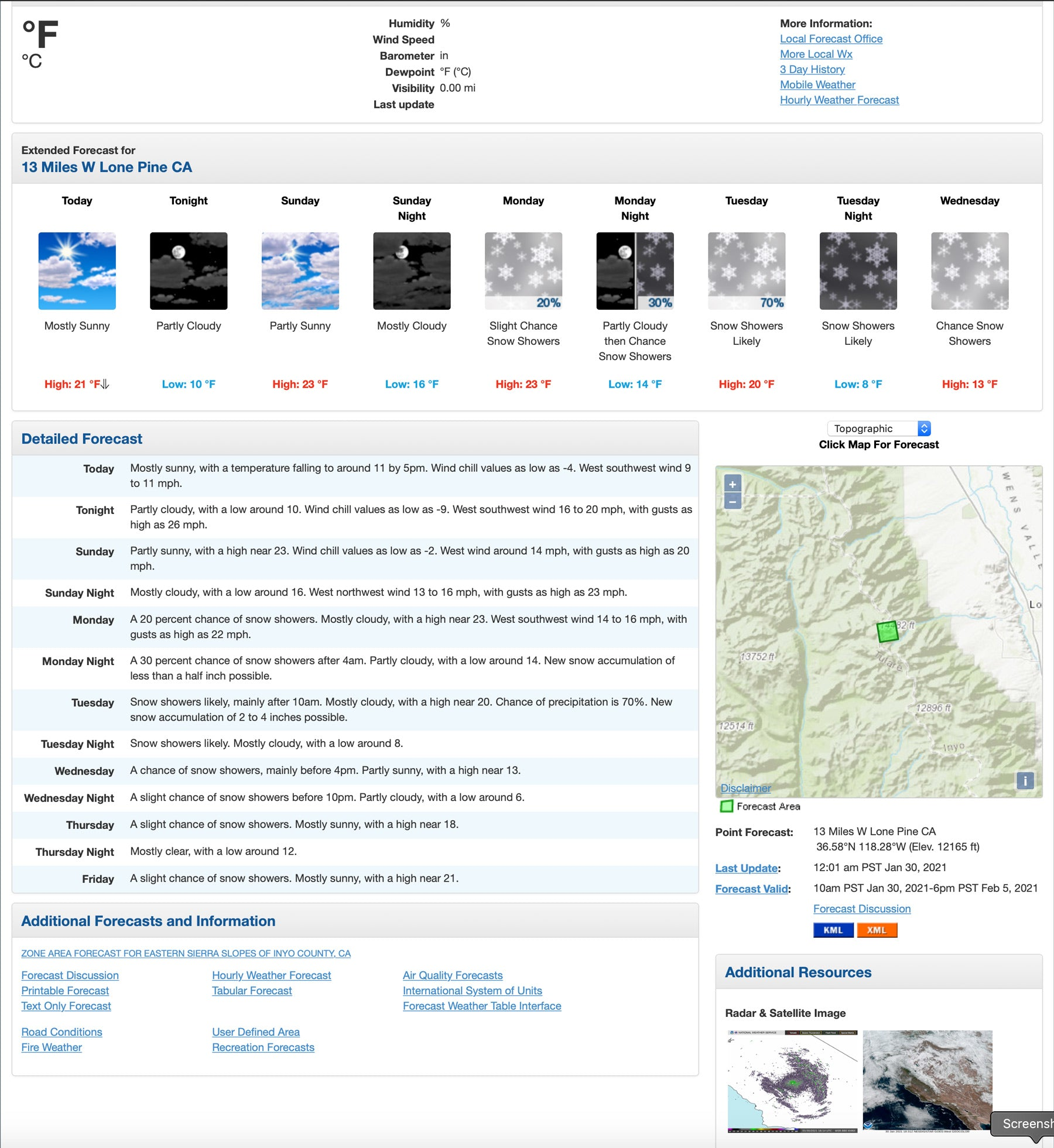 Figure 4:  This is the NWS forecast for the summit of Mt. Whitney for the same time period as the ones we see from the windy.com site.  The NWS sites also are tied in to street and topographic maps but the location picker isn't as accurate.  This is a change that has occurred in the past 4 years.  I cannot get any closer than 12, 165' on their map no matter how hard I tried.  But their temperature forecast seemed more closely aligned with what the METEOBLUE was forecasting.  The advantage of using NWS for remote areas is that the forecasts are bias corrected by meteorologists who live in the region they are forecasting for.  The disadvantage is you don't know which model they are favoring for the current forecast package.  In the discussion which is usually a hotlink they sometimes tell you which model is performing better with the current situation.
